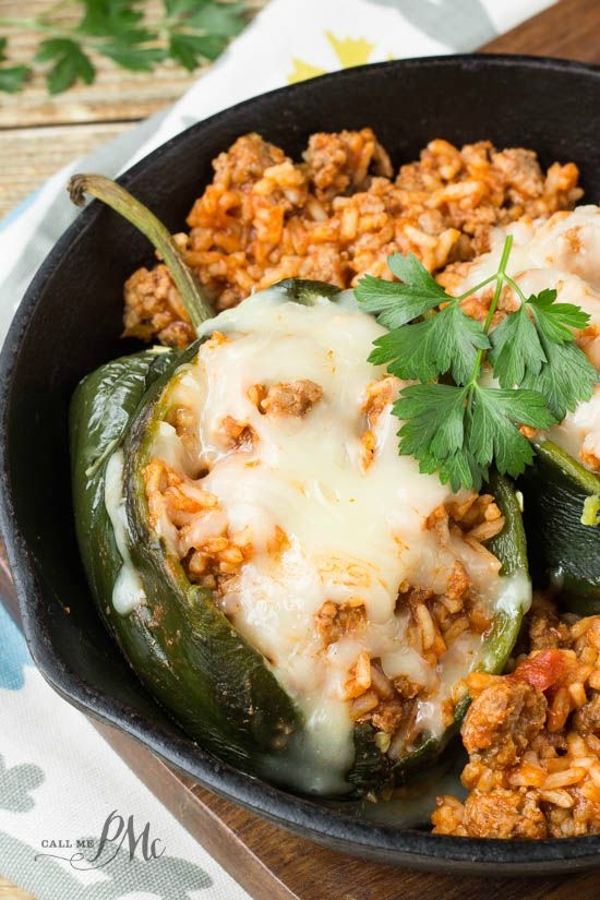 Sloppy Joe Stuffed Poblano Peppers recipe - roasted poblanos are stuffed with Manwich stuffing and topped with cheese. quick and easy recipe for Weekday dinners. #ad #ManwichMonday @Manwich