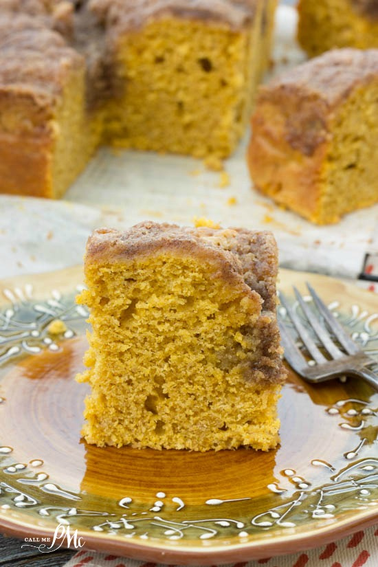 This easy cake recipe is a fall staple, Easy Buttermilk Pumpkin Coffee Cake with Brown Sugar Streusel Recipe. #pumpkin #cake #easyrecipe #recipe #coffeecake