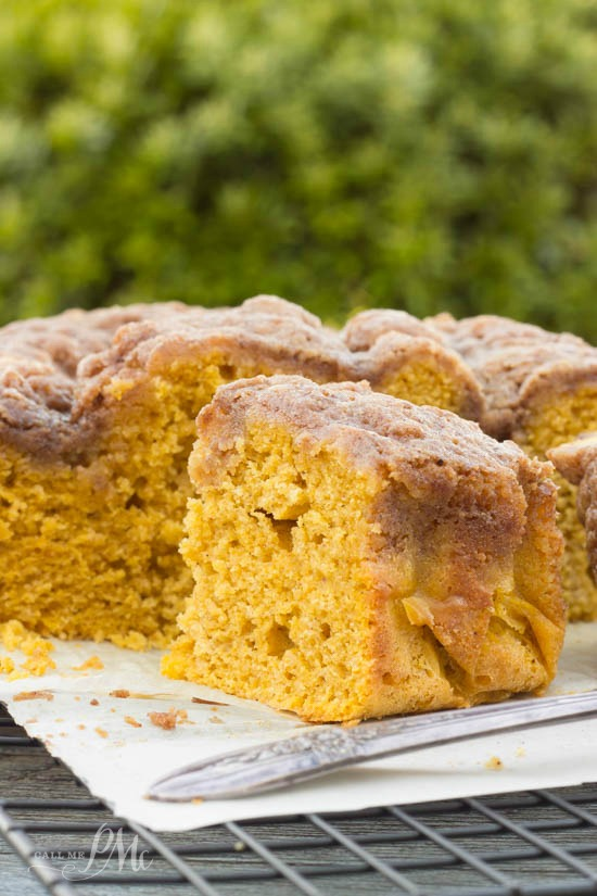 Easy Buttermilk Pumpkin Coffee Cake with Brown Sugar Streusel Recipe -Dense, slightly sweet, and covered with cinnamon and pumpkin spice brown sugar streusel, these coffee cakes make a festive autumn brunch with your favorite cup of steaming coffee! #buttermilk #pumpkin #cake #dessert #coffeecake #streusel #recipe via @pmctunejones