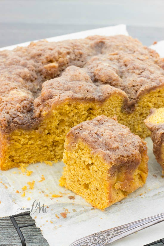 Easy Buttermilk Pumpkin Coffee Cake with Brown Sugar Streusel Recipe -Seriously so yummy and a great way to add pumpkin to your breakfast