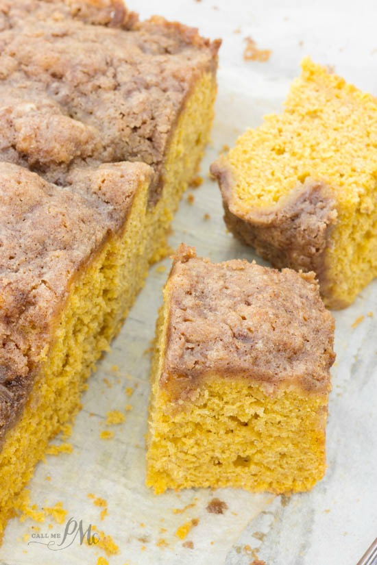 Easy Buttermilk Pumpkin Coffee Cake with Brown Sugar Streusel Recipe -Moist, pumpkin spice cake topped with a brown sugar struessel