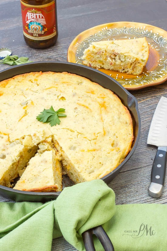 Green Chile Bacon Cornbread recipe - Spice up your cornbread with chiles and bacon!