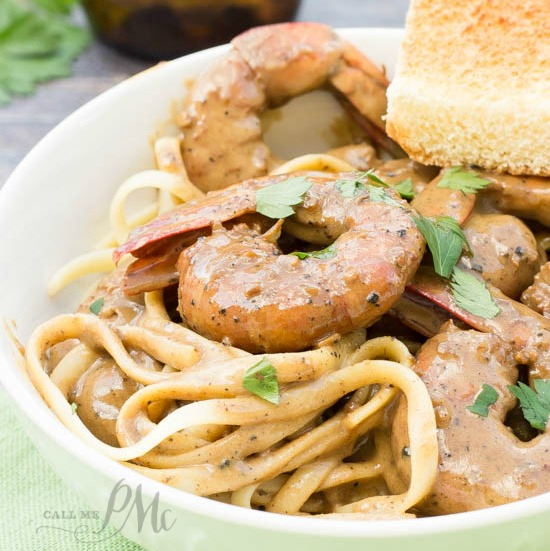 New Orleans Barbeque Shrimp pasta recipe - Tangy shrimp, butter, garlic and Worcestershire make a delicious sauce smothering perfectly cooked pasta.