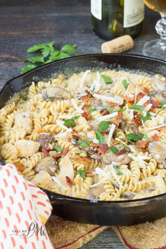Stove Top Chicken Ricotta Pasta recipe chicken, mushroom, and bacon sit in a parmesan and ricotta sauce in this stove top meal that's ready in less than 30 minutes.