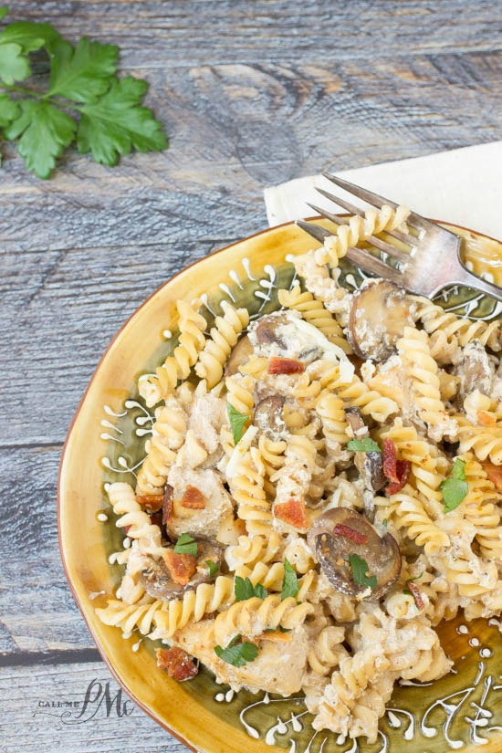 Stove Top Chicken Ricotta Pasta recipe has a parmesan and ricotta sauce. It's full of flavor chicken, mushrooms and bacon!