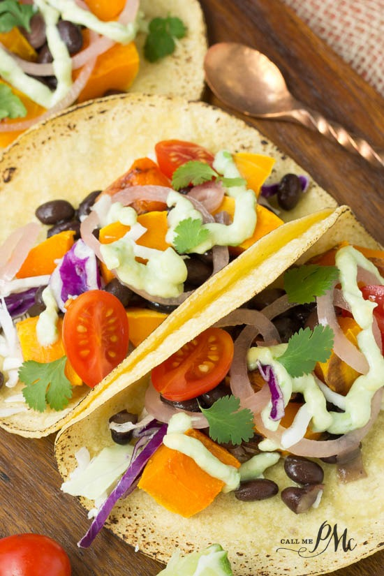 Black Bean Butternut Squash Tacos with Avocado Cream Sauce recipe don't underestimate this flavor explosion!