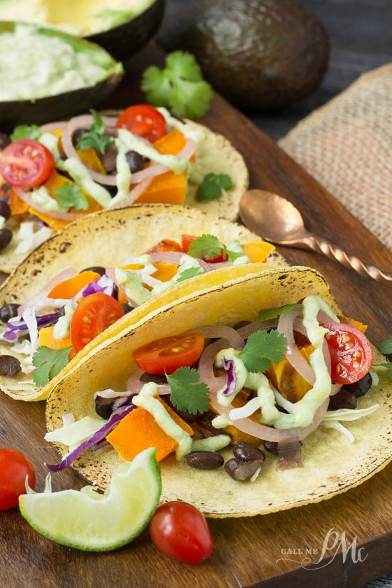 Black Bean Butternut Squash Tacos with Avocado Cream Sauce makes a scrumptious meatless filling for a taco meal.