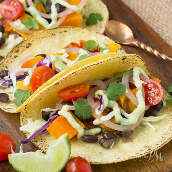 Black Bean Butternut Squash Tacos with Avocado Cream Sauce recipe