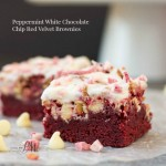 Peppermint White Chocolate Chip Red Velvet Brownies