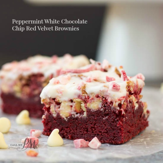 Peppermint White Chocolate Chip Red Velvet Brownies s