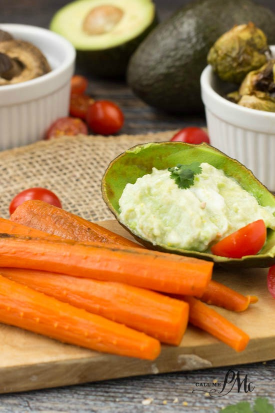 Roasted Vegetables with Blue Cheese Avocado Dipping Sauce recipe - FAVORITE dressing reicpe. Great on salads, as a dip for veggies and chips!