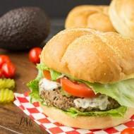 Spicy Homemade Black Bean Veggie Burger with Avocado Cream Sauce