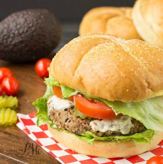 Spicy Homemade Black Bean Veggie Burger with Avocado Cream Sauce recipe