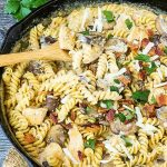 Stove Top Chicken Ricotta Pasta is full of chicken, bacon, mushrooms and more. Bonus? It's ready in less than 30 minutes!