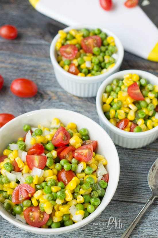 Sweet and Sour Marinated English Pea and Corn Salad recipe With a refreshing vinaigrette and fresh produce, this makes for a perfect salad!