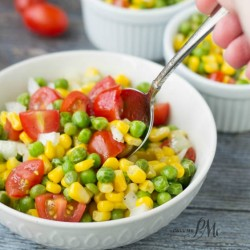 Sweet and Sour Marinated English Pea and Corn Salad