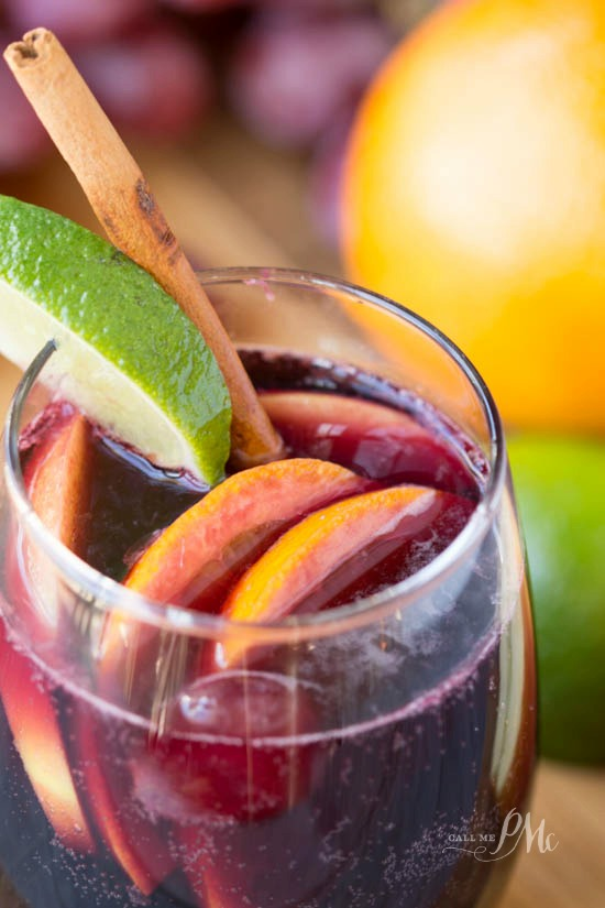 Red Wine Citrus Sangria Recipe - Made with fresh fruit, red wine, brandy and juice. Perfect Fall or Winter cocktail.