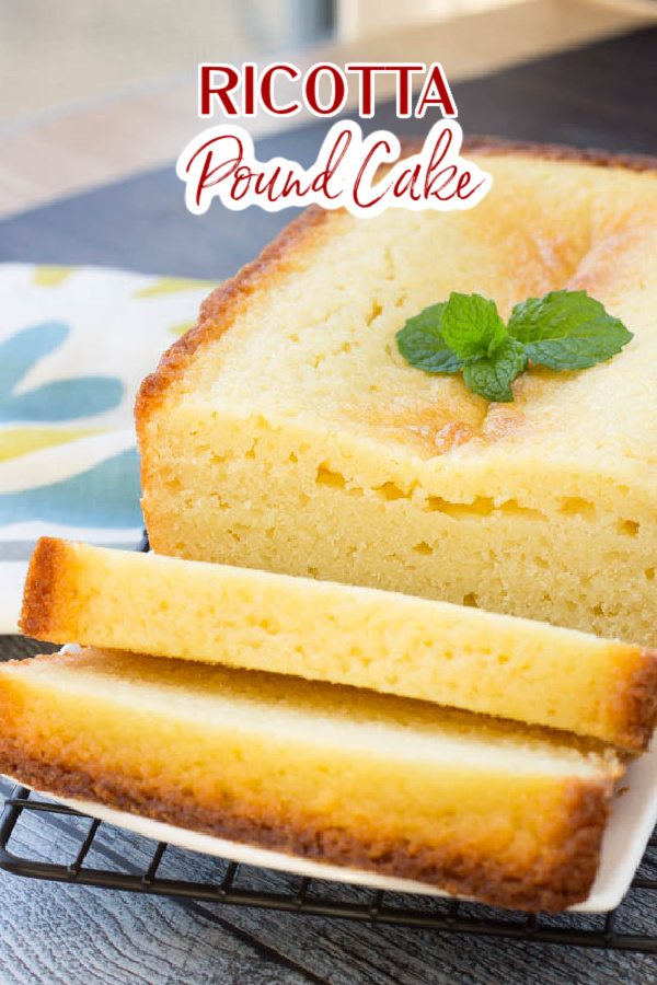 Classic Ricotta Pound Cake is dense, soft, and sweet. It is guaranteed to get you to rave reviews at your next potluck! #cake #dessert #poundcake #callmepmc #poundcakepaula #recipe #homemade #ricotta #Southernfood #homemade #fromscratch #easy #moist via @pmctunejones