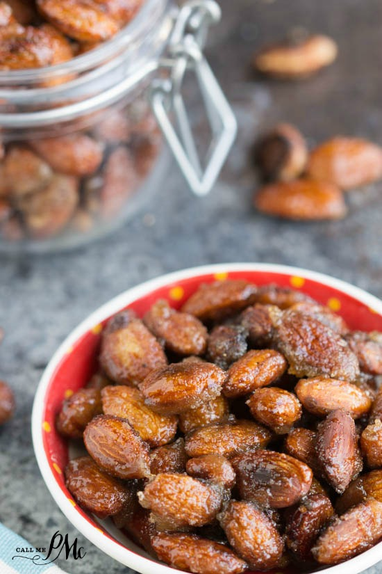 Creole Spicy Roasted Almonds recipe - Perfectly sweet, spicy, chewy & crunchy candied nuts with no egg white in sight! So easy to make and dangerously delicious!