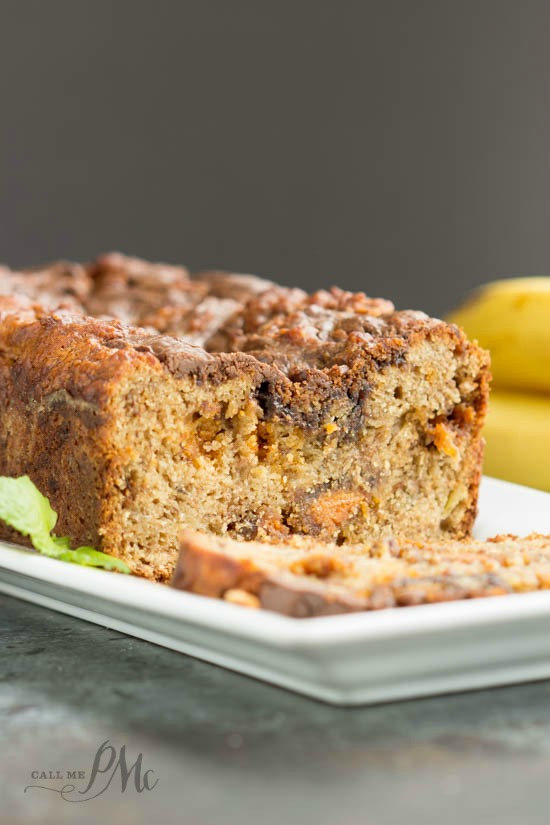 Nutella Swirled Peanut Butter Roasted Banana Bread recipe makes a tasty breakfast, snack or dessert. Great for gifts.