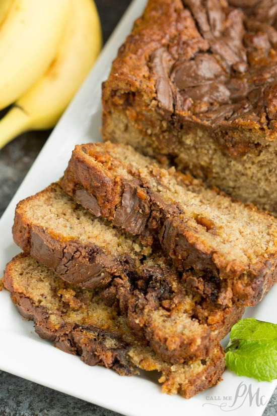 Nutella Swirled Peanut Butter Roasted Banana Bread recipe is extra chocolate and super tender.
