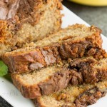 Nutella Swirled Peanut Butter Roasted Banana Bread