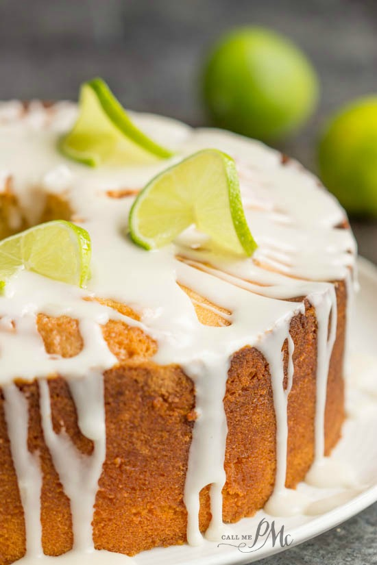 Scratch made Key Lime Pound Cake Recipe with Key Lime Glaze - A sweet, moist, dense key lime pound cake drizzled with a tart key lime glaze.