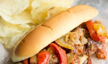 Slow Cooker Shredded Beef Roast and Pepper Hoagie Sandwiches