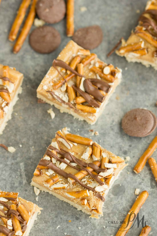 Crunchy Millionaire's Shortbread recipe - a buttery shortbrea cookie crust is topped with caramel, pretzels, and a drizzle of chocolate.