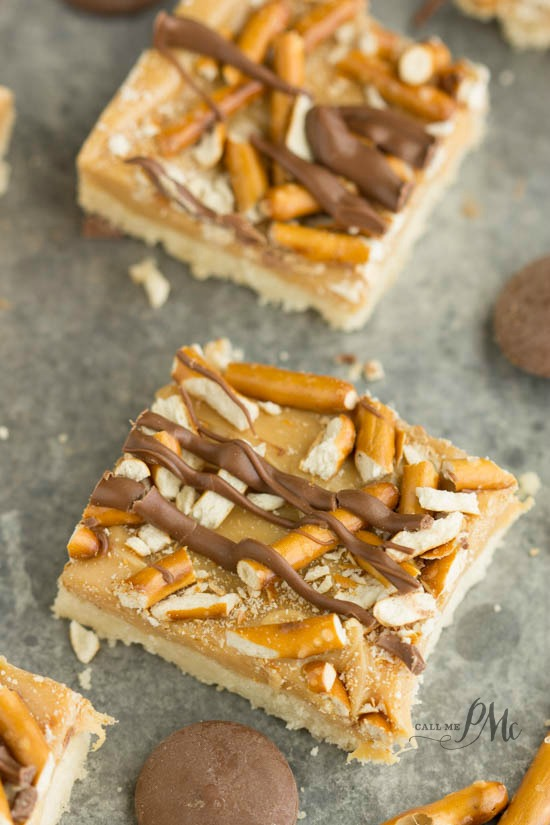 Crunchy Millionaire's Shortbread recipe is layers of gooey sweet caramel and pretzels topped chocolate, all sits on a buttery shortbread crust.