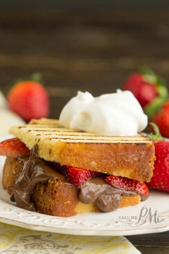Nutella Strawberry Grilled Pound Cake Sandwiches recipe is a quick and easy dessert recipe. This dessert panini can be prepared inside or outside on the grill.