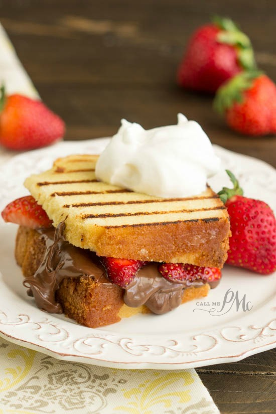 Nutella Strawberry Grilled Pound Cake Sandwiches recipe - the epitome of decadence!
