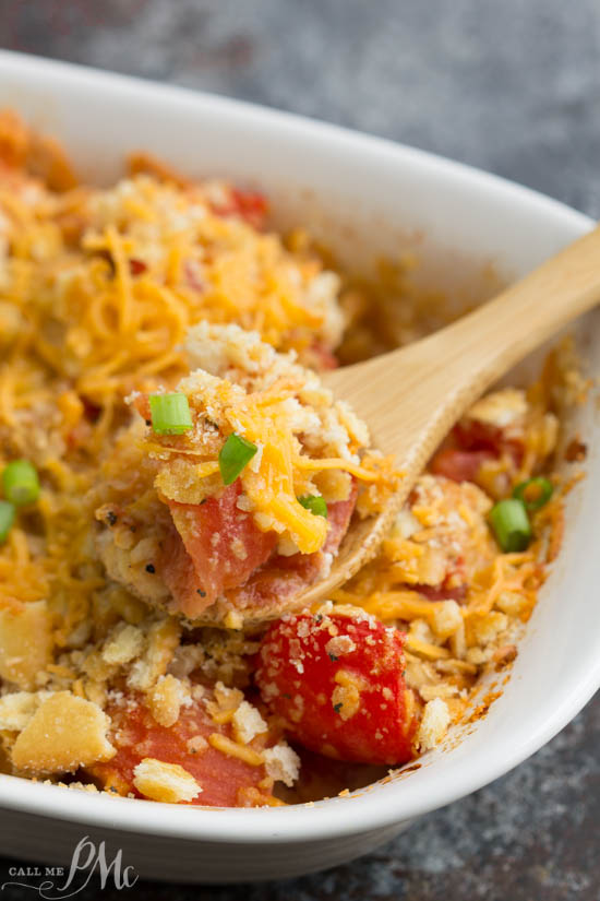 Cheesy Tomato Casserole Recipe is a simple and delicious side dish. #cheese #comfortfood #fresh #baked #recipes #tomatoes #vegetables #casserole #easy #vegetables #quick #dinner #sidedish