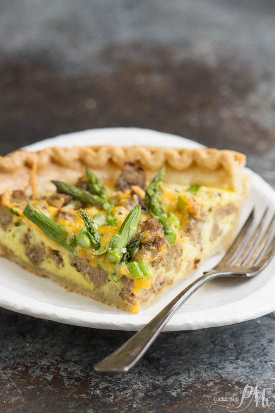 Turkey Sausage Asparagus Quiche is an easy breakfast casserole recipe that's ready in 30 minutes.