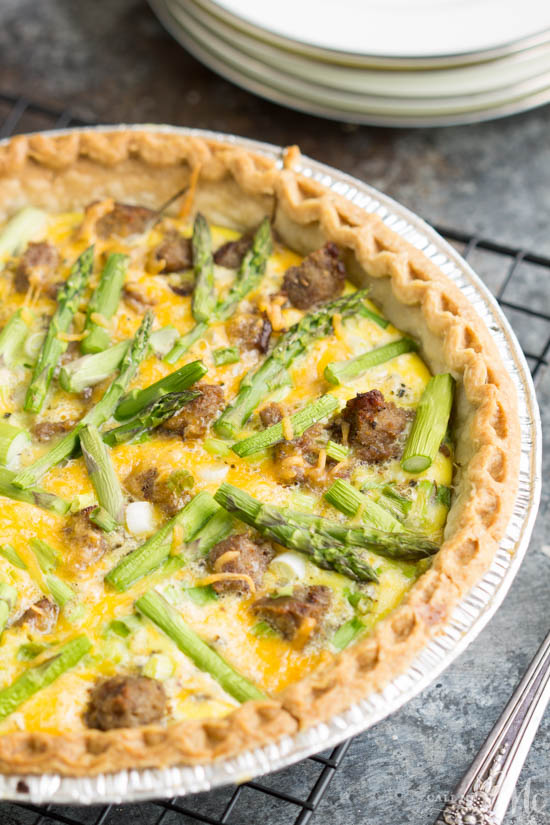 Turkey Sausage Asparagus Quiche is a Foolproof Quiche recipe. Full of flavor and easy to make!