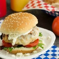 Buffalo Style Chicken Burgers with Easy Blue Cheese Ranch Dressing Recipe