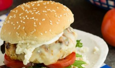 Buffalo Style Chicken Burgers with Blue Cheese Ranch Dressing