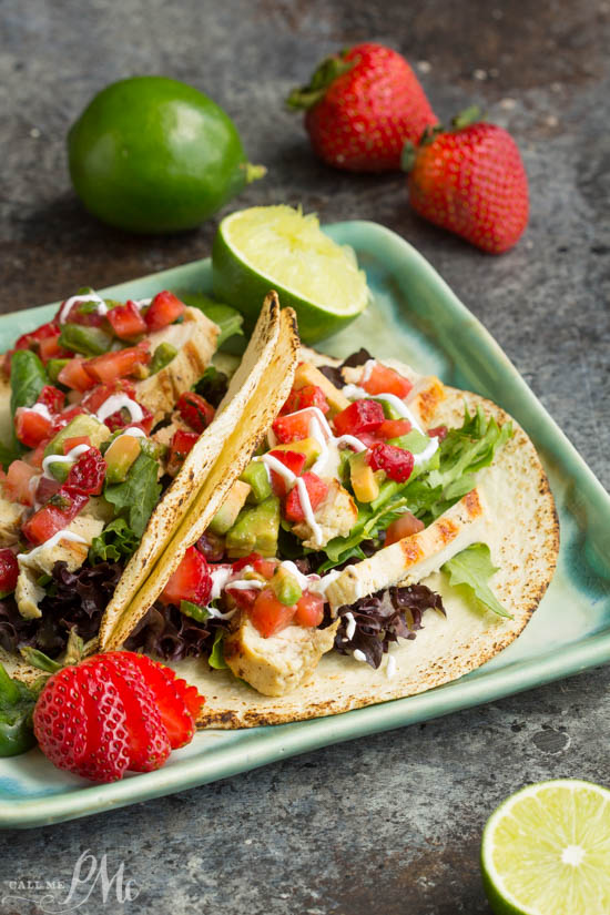 Mojito Grilled Chicken Tacos recipe with Strawberry Avocado Salsa is light and refreshing. A simple and easy marinade gives this Mojito Grilled Chicken an incredible flavor! Perfect on the grill, topped with traditional or strawberry salsa, or in a taco or burrito bowl!