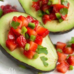 Strawberry Salsa Filled Avocados