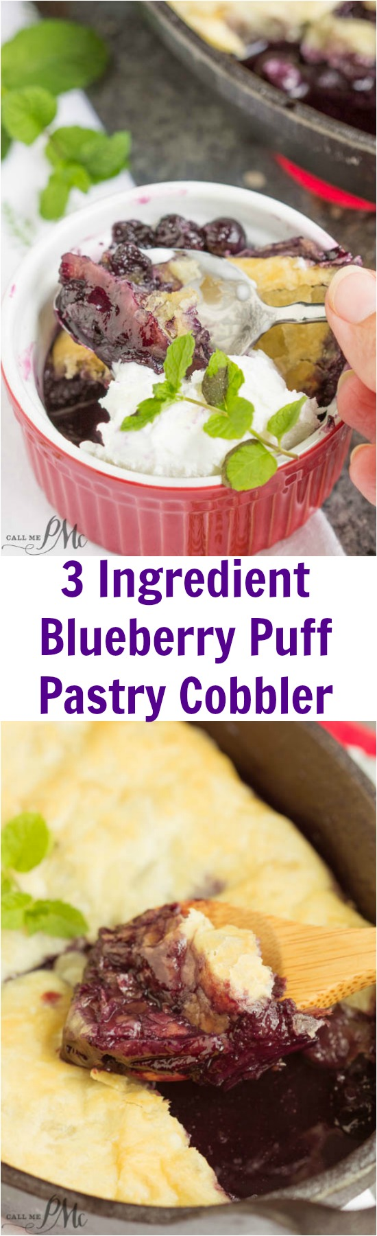 3 Ingredient Blueberry Puff Pastry Cobbler, juicy and flavorful, this is a great dessert when blueberries are in season. It's also perfect with frozen berries making it a year round treat! Definitely a lazy day dessert, this cobbler recipe is perfect for summertime picnics, barbecues, and potlucks. With just three ingredients, this recipe is prepared in just minutes.