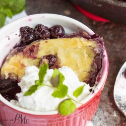 3 Ingredient Blueberry Puff Pastry Cobbler, juicy and flavorful, this is a great dessert when blueberries are in season. It's also perfect with frozen berries making it a year round treat!