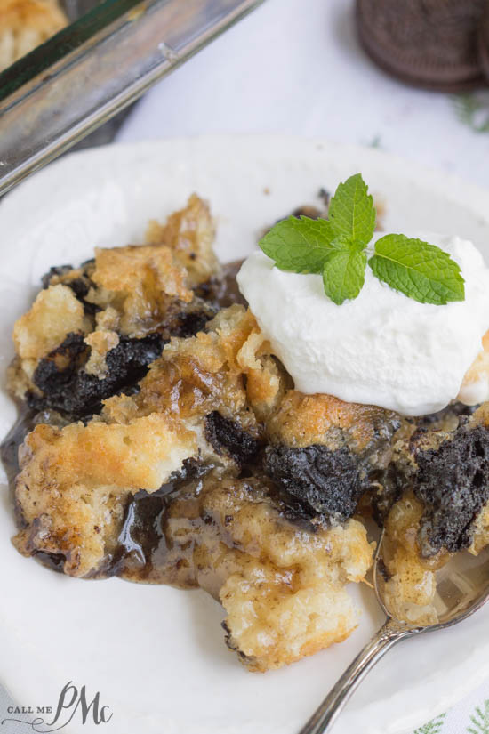 3 Step Oreo Cookie Dump Cobbler recipe. It's an easy dump-type dessert with crushed Oreo cookies