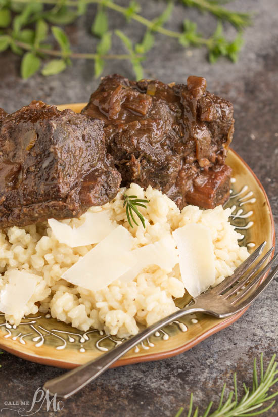 Molasses Pomegranate Short Ribs with Basic Risotto. The sauce of molasses and pomegranate juice is out-of-this-world. To me, it's the one component that makes this recipe a winner.