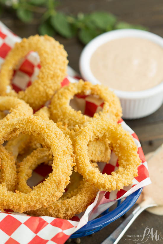 Oven Fried Onion Rings with Copycat Outback Blooming Onion Dipping Sauce 1
