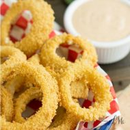 Oven Fried Onion Rings with Copycat Outback Blooming Onion Dipping Sauce