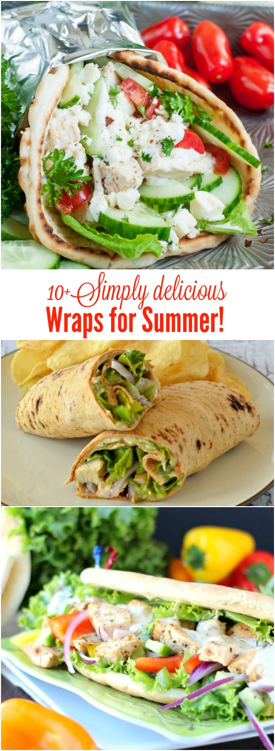 Summertime calls for lighter fare that's a wrap to put together! It's the season when cool, crunchy salads, grilled goodies, and fat-free desserts are on the menu! Enjoy these 10+ Simply Delicious Wraps for Summer.