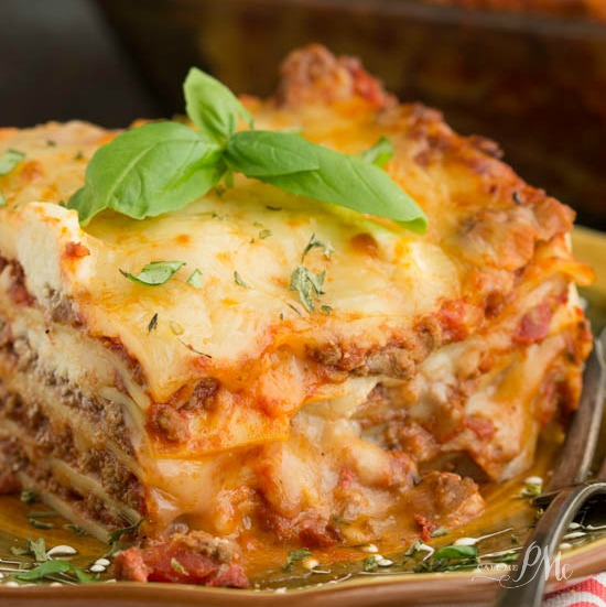 Classic Turkey Lasagna Recipe, a simple homemade lasagna recipe that's easy enough for busy week nights. Ground turkey replaces traditional ground beef in this recipe making it lower in calories and fat.
