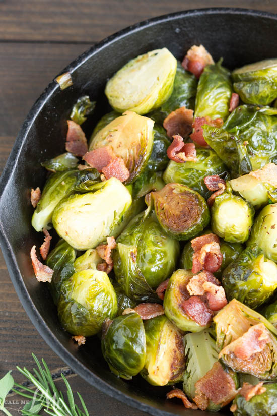 Kentucky Bourbon Braised Bacon Brussel Sprouts have lots of texture and flavor from braising them in a bourbon mixture and tossing with smokey bacon. A tasty and versatile side dish recipe. #sidedish #brusselsprouts #vegetables #bacon #crispy #lowcarb #stovetop #easy #keto #dinner