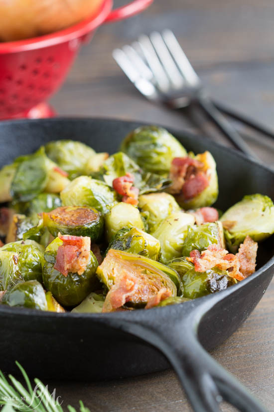 Kentucky Bourbon Braised Bacon Brussel Sprouts have lots of texture and flavor from braising them in a bourbon mixture and tossing with smokey bacon.