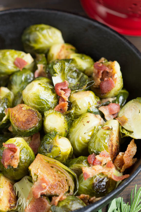 Kentucky Bourbon Braised Bacon Brussel Sprouts have lots of texture and flavor from braising them in a bourbon mixture and tossing with smokey bacon. A tasty and versatile side dish recipe.